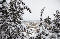 Concepto de la Navidad en la ciudad de Kozani Opinión de la ciudad Nevado entre los árboles Nieve en los tejados del fondo de los Fotografía de archivo