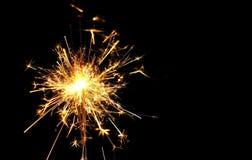 Concepto de la Navidad y de la celebración del Año Nuevo: Chri ardiente brillante Foto de archivo libre de regalías