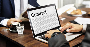 Concepto de la negociación de la obligación del compromiso del acuerdo de contrato imagenes de archivo