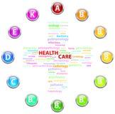 Concepto de la nube de la atención sanitaria Foto de archivo libre de regalías