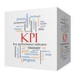 Concepto de la nube de la palabra de KPI en un cubo 3D imagen de archivo