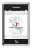 Concepto de la nube de la palabra de KPI en un teléfono de la pantalla táctil foto de archivo