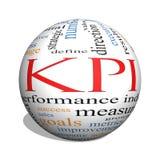 Concepto de la nube de la palabra de KPI en una esfera 3D Fotografía de archivo libre de regalías