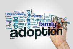 Concepto de la nube de la palabra de la adopción en fondo gris Fotografía de archivo libre de regalías