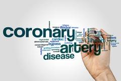 Concepto de la nube de la palabra de la arteria coronaria en fondo gris foto de archivo libre de regalías