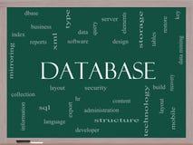 Concepto de la nube de la palabra de la base de datos en una pizarra Foto de archivo libre de regalías