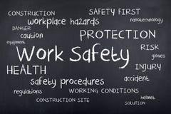 Concepto de la nube de la palabra de la caja fuerte del lugar de trabajo de la seguridad del trabajo primer Fotos de archivo