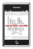 Concepto de la nube de la palabra de la casa encantada en el teléfono de la pantalla táctil Imagen de archivo libre de regalías
