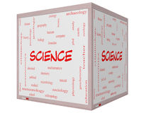 Concepto de la nube de la palabra de la ciencia en 3D un cubo Whiteboard Foto de archivo libre de regalías