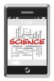 Concepto de la nube de la palabra de la ciencia en el teléfono de la pantalla táctil Imagenes de archivo