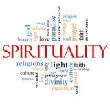 Concepto de la nube de la palabra de la espiritualidad Imágenes de archivo libres de regalías