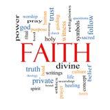 Concepto de la nube de la palabra de la fe Fotografía de archivo