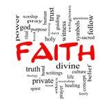 Concepto de la nube de la palabra de la fe en casquillos rojos Fotografía de archivo