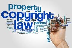 Concepto de la nube de la palabra de la ley de Derechos de Autor en fondo gris fotos de archivo libres de regalías