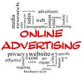 Concepto de la nube de la palabra de la publicidad online en rojo y negro Imagenes de archivo