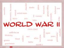 Concepto de la nube de la palabra de la Segunda Guerra Mundial en un Whiteboard Fotografía de archivo libre de regalías