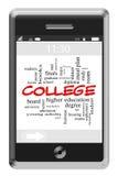 Concepto de la nube de la palabra de la universidad en el teléfono de la pantalla táctil Fotos de archivo libres de regalías