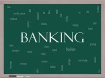 Concepto de la nube de la palabra de las actividades bancarias en una pizarra Fotos de archivo