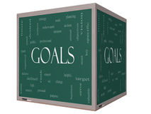 Concepto de la nube de la palabra de las metas en una pizarra del cubo 3D Foto de archivo libre de regalías