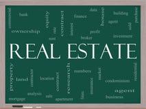 Concepto de la nube de la palabra de las propiedades inmobiliarias en una pizarra Fotos de archivo libres de regalías