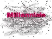 concepto de la nube de la palabra de Millennials de la imagen 3d Foto de archivo libre de regalías
