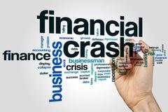 Concepto de la nube de la palabra del colapso financiero en fondo gris Foto de archivo libre de regalías
