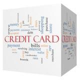 Concepto de la nube de la palabra del cubo de la tarjeta de crédito 3D stock de ilustración