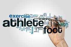 Concepto de la nube de la palabra del pie de atleta en fondo gris Foto de archivo libre de regalías