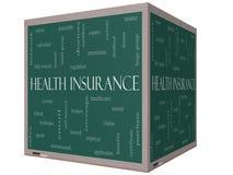 Concepto de la nube de la palabra del seguro médico en una pizarra del cubo 3D Imágenes de archivo libres de regalías