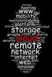 Concepto de la nube de la palabra de la nube Fotografía de archivo libre de regalías