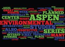 Concepto de la nube de la palabra de Aspen Center For Environmental Studies de la vida nocturna de Aspent Fotos de archivo libres de regalías
