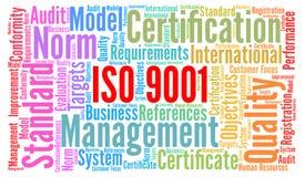 Concepto de la nube de la palabra de la certificación del ISO 9001 stock de ilustración