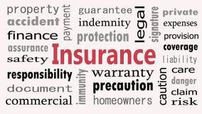 Concepto de la nube de la palabra del seguro en el fondo blanco fotos de archivo libres de regalías