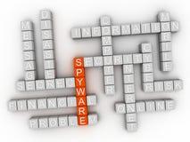 concepto de la nube de la palabra del Spyware 3d en el fondo blanco representación 3d fotografía de archivo libre de regalías