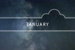 Concepto de la nube de la palabra de ENERO Fondo del espacio Fotografía de archivo libre de regalías