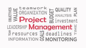 Concepto de la nube de la palabra de la gestión del proyecto en el fondo blanco fotos de archivo
