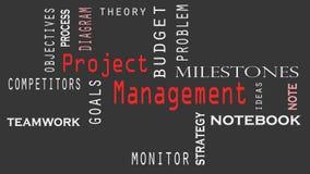 Concepto de la nube de la palabra de la gestión del proyecto en fondo negro almacen de video
