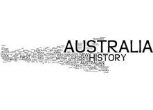 Concepto de la nube de la palabra de la historia de Australia imagenes de archivo