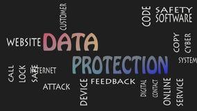 Concepto de la nube de la palabra de la protección de datos en fondo negro metrajes