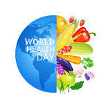 Concepto de la nutrición de April Global Holiday Vitamins And del día de salud de mundo 7 Imagenes de archivo