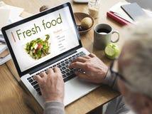 Concepto de la nutrición de las calorías del café de la consumición de la comida fresca Imagen de archivo libre de regalías