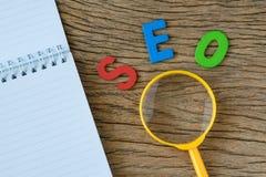 Concepto de la optimización del motor de SEO Search como abbr colorido del alfabeto Fotografía de archivo