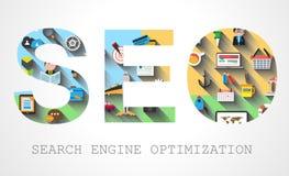 Concepto de la optimización del Search Engine de Seo libre illustration
