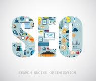 Concepto de la optimización del Search Engine de Seo stock de ilustración