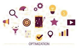 Concepto de la optimización Idea de la mejora y del desarrollo ilustración del vector