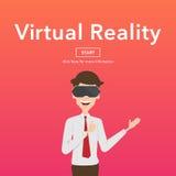 Concepto de la página web de Use Virtual Reality del hombre de negocios Imágenes de archivo libres de regalías
