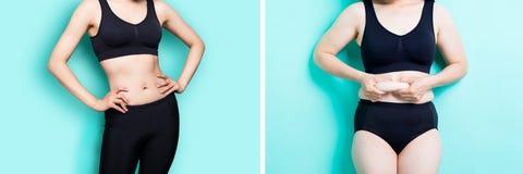 Concepto de la pérdida de peso de la mujer Foto de archivo libre de regalías