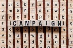 Concepto de la palabra de la campaña imagenes de archivo