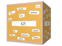 Concepto de la palabra de Corkboard del cubo de KPI 3D Imágenes de archivo libres de regalías