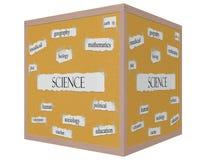 Concepto de la palabra de Corkboard del cubo de la ciencia 3D Imagen de archivo libre de regalías